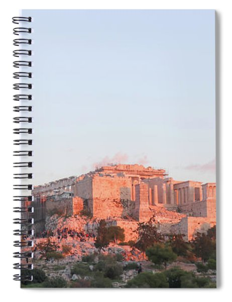The Athens Accropolis At Sunset Spiral Notebook