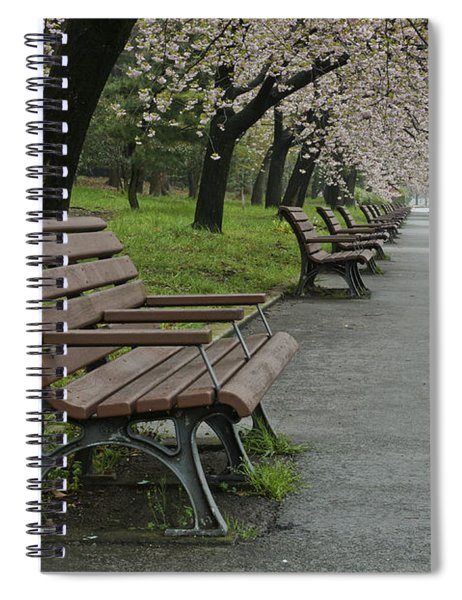 The Blossoms And The Bench Spiral Notebook