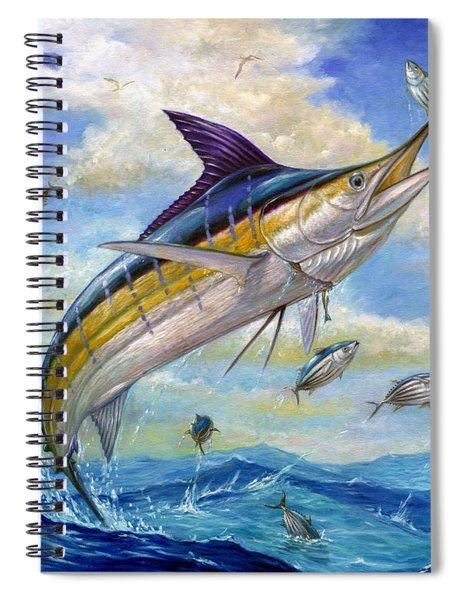 The Blue Marlin Leaping To Eat Spiral Notebook