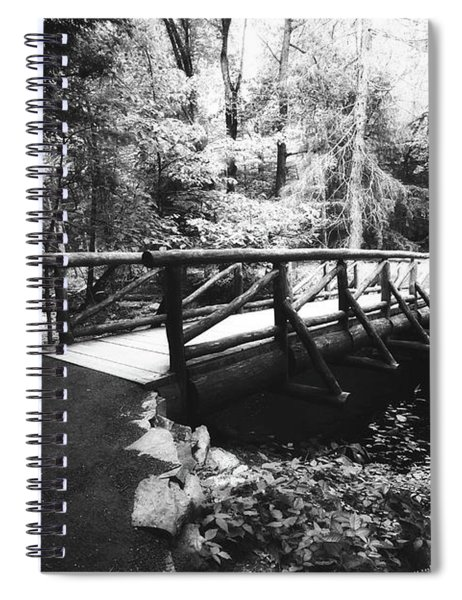 The Bridge Through The Woods In Black And White Spiral Notebook