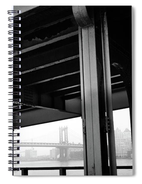 The Brooklyng Bridge And Manhattan Bridge From Fdr Drive Spiral Notebook