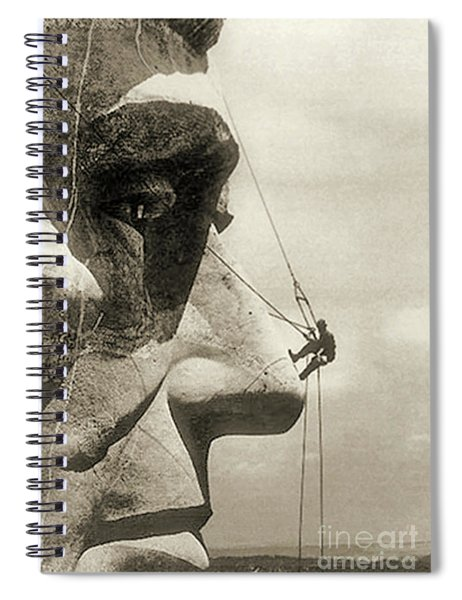 The Construction Of The Mount Rushmore National Memorial, Detail Of Abraham Lincoln,1928  Spiral Notebook by American School