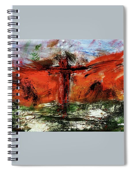 Spiral Notebook featuring the mixed media The Crucifixion #1 by Michael Lucarelli