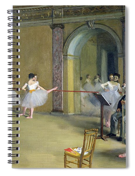 The Dance Foyer At The Opera On The Rue Le Peletier Spiral Notebook by Edgar Degas