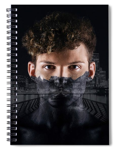 Spiral Notebook featuring the digital art The Dark Side Of A City Boy by ISAW Company