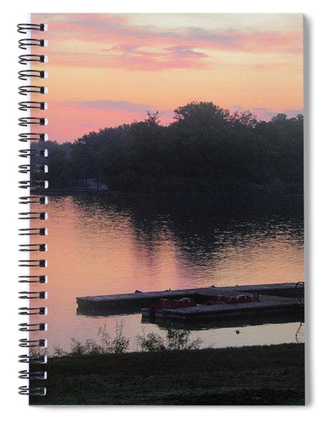 The Docks Under Pink Skies Spiral Notebook
