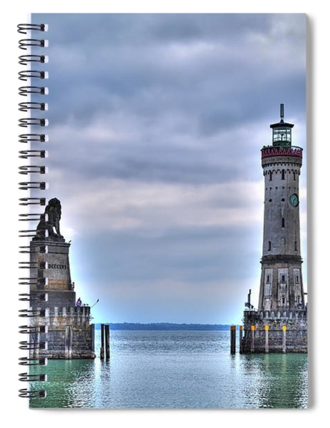 the entrance of the harbour of Lindau at the Lake Constance Spiral Notebook