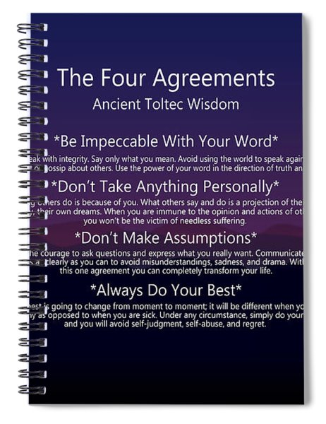 The Four Agreements Poster Spiral Notebook