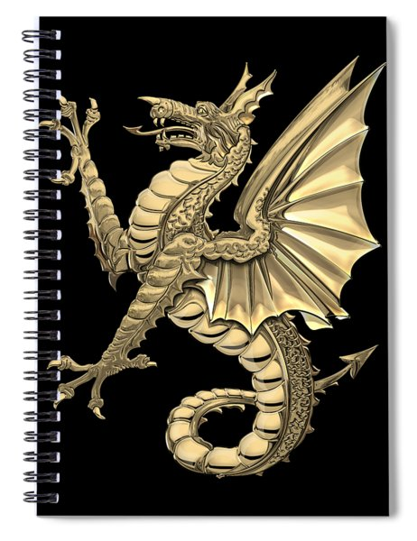The Great Dragon Spirits - Gold Sea Dragon Over Black Canvas Spiral Notebook
