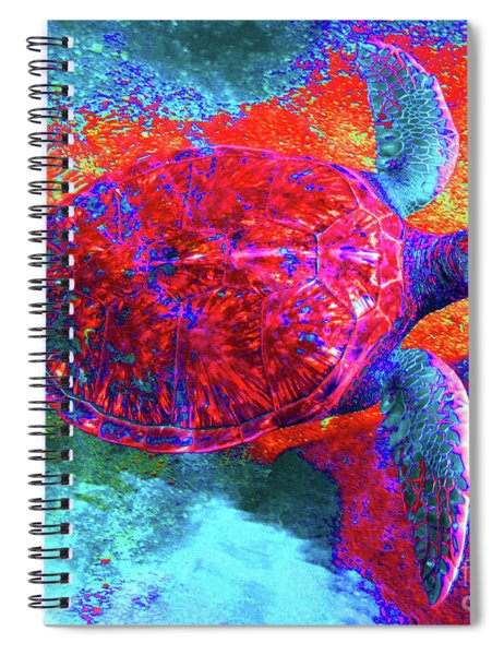 The Great Sea Turtle In Abstract Spiral Notebook