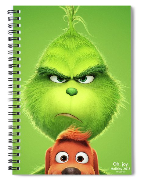 Spiral Notebook featuring the mixed media The Grinch 2018 A by Movie Poster Prints