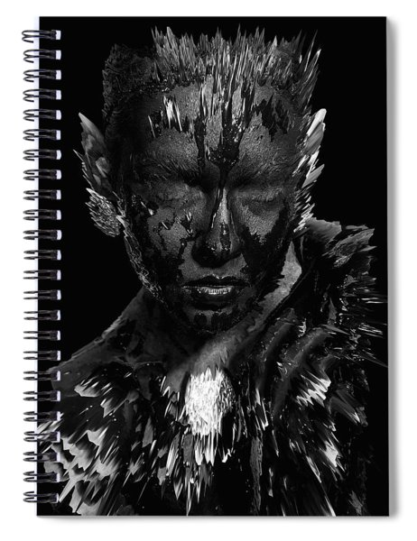 Spiral Notebook featuring the digital art The Inner Demons Coming Out by ISAW Company