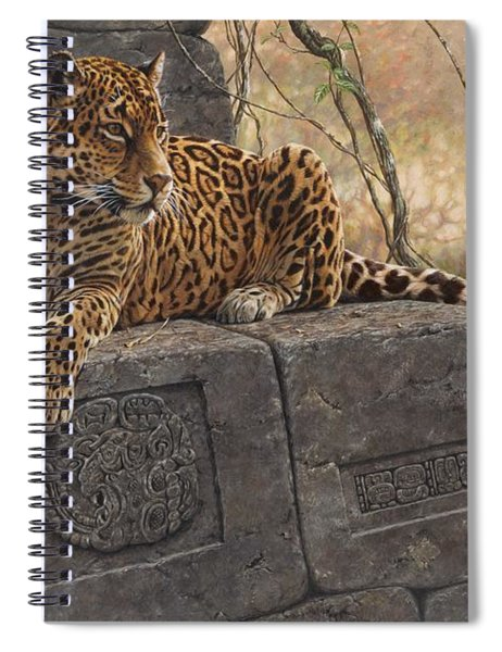 Spiral Notebook featuring the painting The Jaguar King by Alan M Hunt
