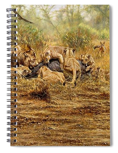 Spiral Notebook featuring the painting The Kill by Alan M Hunt