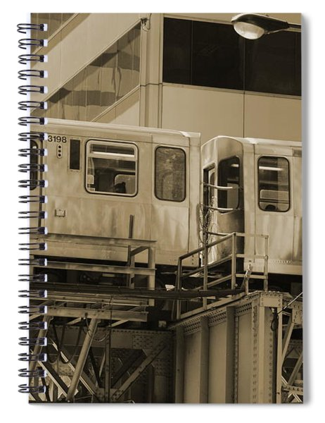 The L Downtown Chicago In Sepia Spiral Notebook
