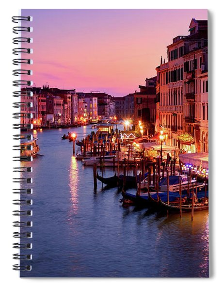 The Blue Hour From The Rialto Bridge In Venice, Italy Spiral Notebook