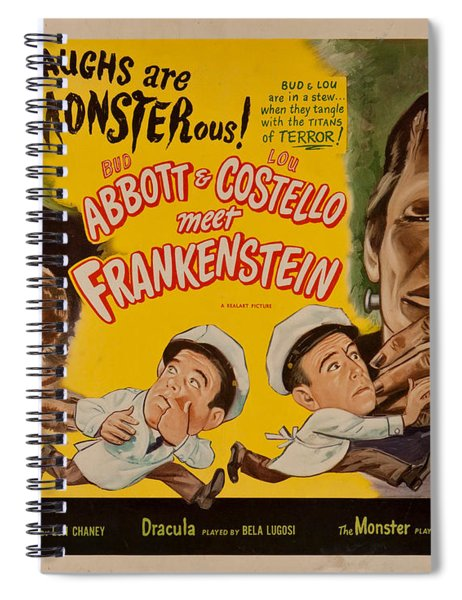 The Laughs Are Monsterous Abott An Costello Meet Frankenstein Classic Movie Poster Spiral Notebook