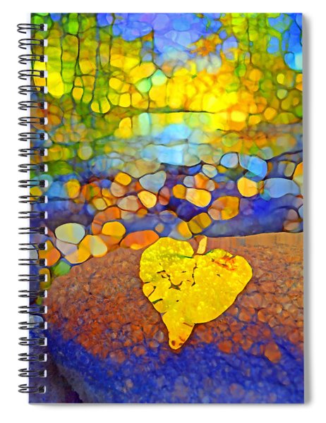 The Leaf At The Creek Spiral Notebook