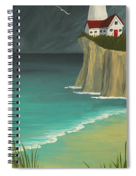 The Lighthouse On The Cliff Spiral Notebook