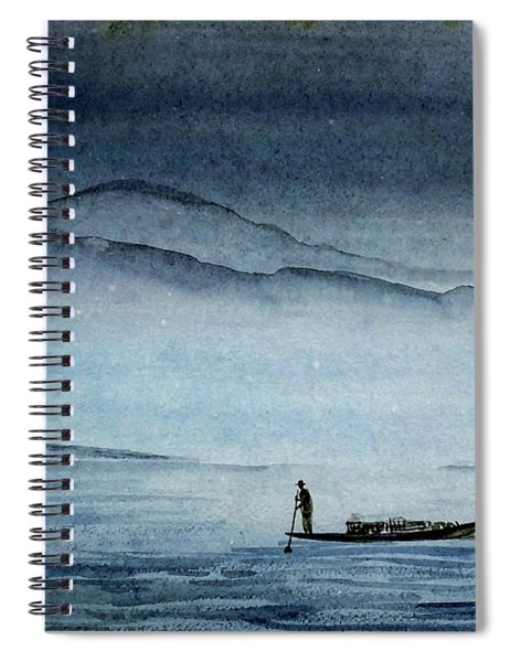 The Lonely Boat Man Spiral Notebook