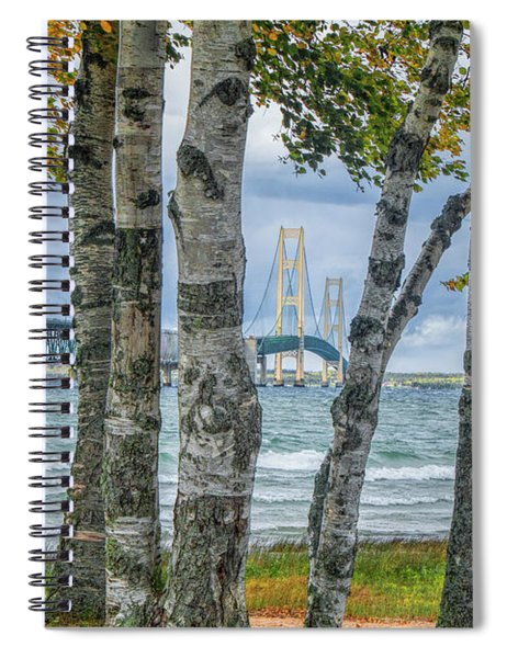 The Mackinaw Bridge By The Straits Of Mackinac In Autumn With Birch Trees Spiral Notebook