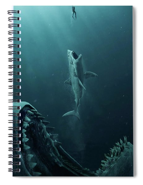 Spiral Notebook featuring the mixed media The Meg 5.0.3 by Movie Poster Prints