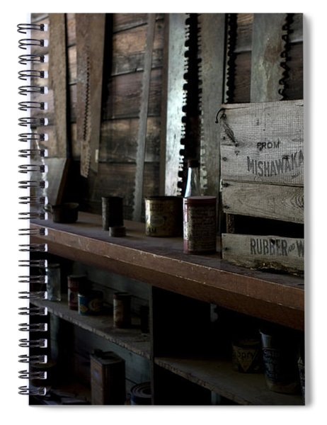 Spiral Notebook featuring the photograph The Mishawaka Woolen Bar by Lorraine Devon Wilke