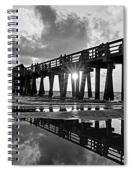Naples Pier At Sunset Naples Florida Black And White Spiral Notebook