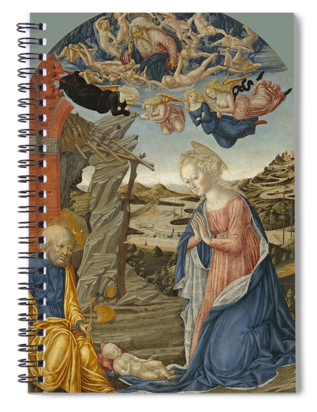 The Nativity With God The Father Surrounded By Angels And Cherubim Spiral Notebook