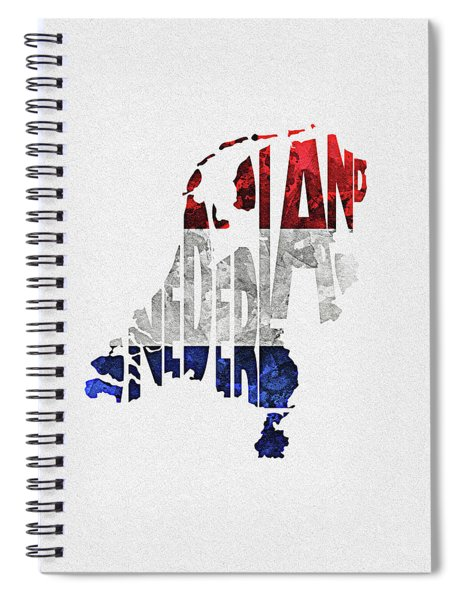 The Netherlands Typographic Map Flag Spiral Notebook