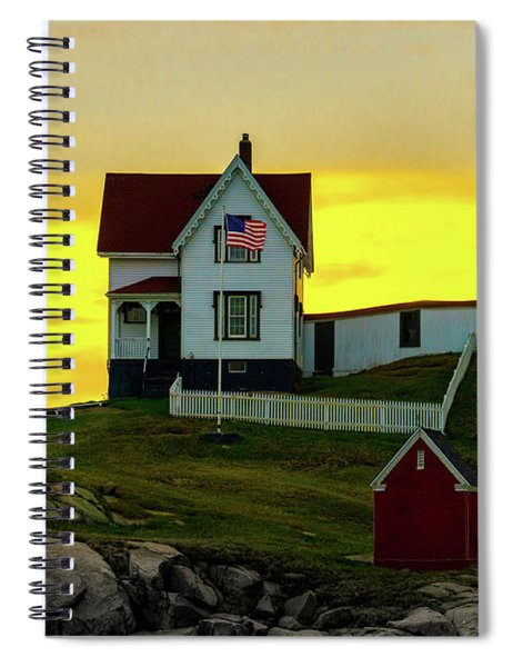 The Nubble Cape Neddick Lighthouse In Maine At Dawn Spiral Notebook