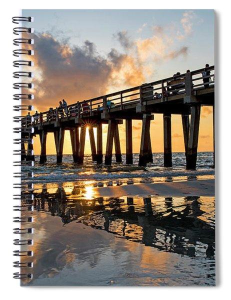 Naples Pier At Sunset Naples Florida Ripples Spiral Notebook