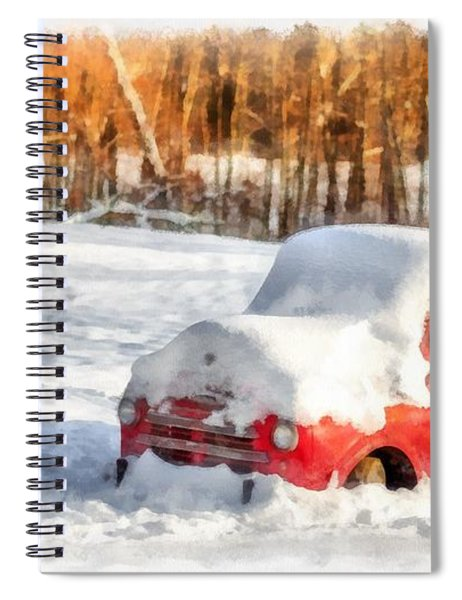 The Old Farm Truck In The Snow Spiral Notebook