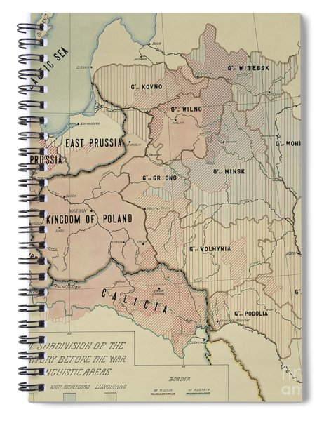 The Political Subdivision Of The Polish Territory Before The War And Its Linguistic Areas, 1918 Spiral Notebook