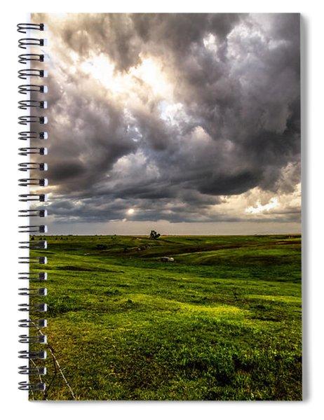 The Prairie - Golden Sunlight Drenches Nebraska Landscape Spiral Notebook
