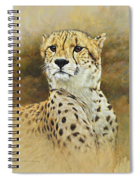 Spiral Notebook featuring the painting The Prince - Cheetah by Alan M Hunt