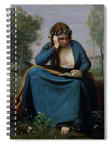 The Reader Crowned With Flowers Spiral Notebook