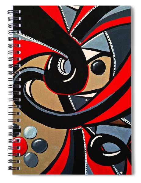 Red Black Abstract Art Painting, Swirl Acrylic Painting Spiral Notebook