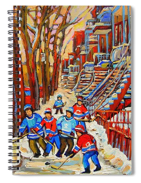 The Red Staircase Painting By Montreal Streetscene Artist Carole Spandau Spiral Notebook