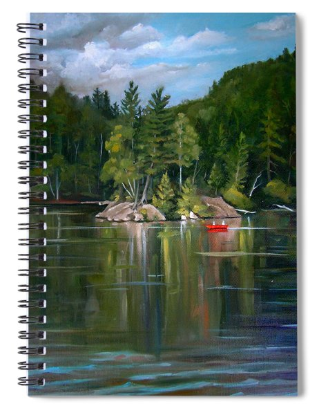 The Rock On Mirror In Woodstock New Hampshire Spiral Notebook