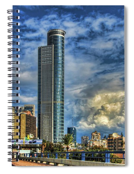 The Skyscraper And Low Clouds Dance Spiral Notebook