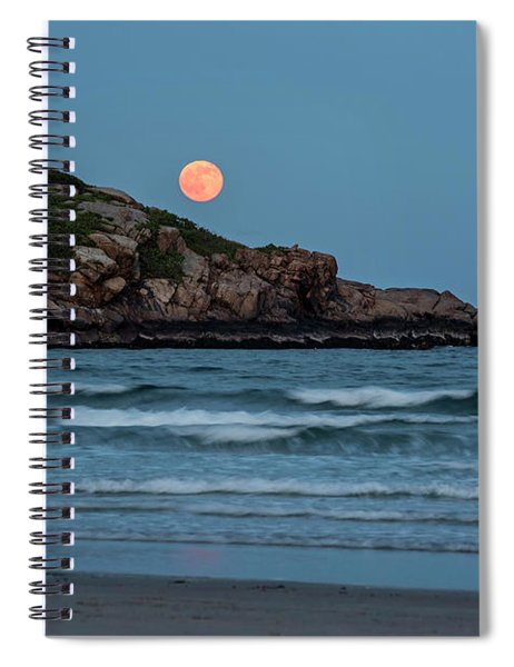 The Strawberry Moon Rising Over Good Harbor Beach Gloucester Ma Island Spiral Notebook