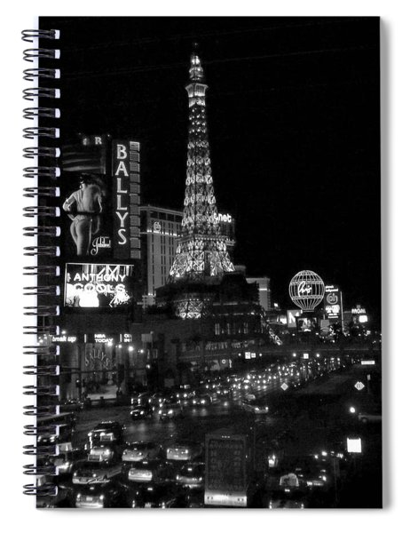 The Strip By Night B-w Spiral Notebook