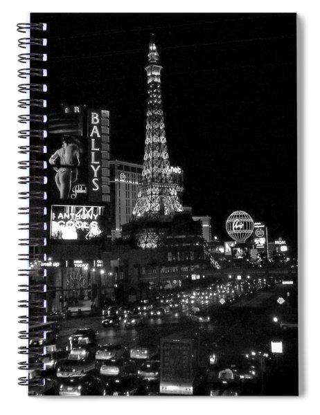 The Strip By Night B-w Spiral Notebook