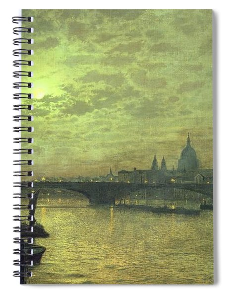The Thames By Moonlight With Southwark Bridge Spiral Notebook