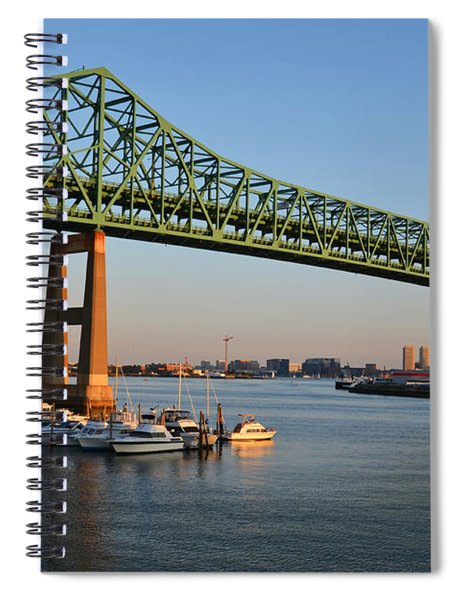 The Tobin Bridge Into The Sunset Chelsea Yacht Club Spiral Notebook