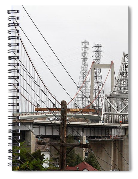 The Two Carquinez Bridges At Crockett And Vallejo California . Aka Alfred Zampa Memorial Bridge . 7d8919 Spiral Notebook