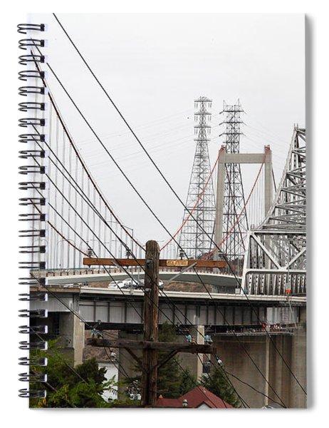The Two Carquinez Bridges At Crockett And Vallejo California . Aka Alfred Zampa Memorial Bridge . 7d8919 Spiral Notebook