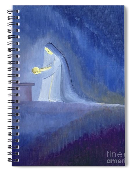 The Virgin Mary Cared For Her Child Jesus With Simplicity And Joy Spiral Notebook