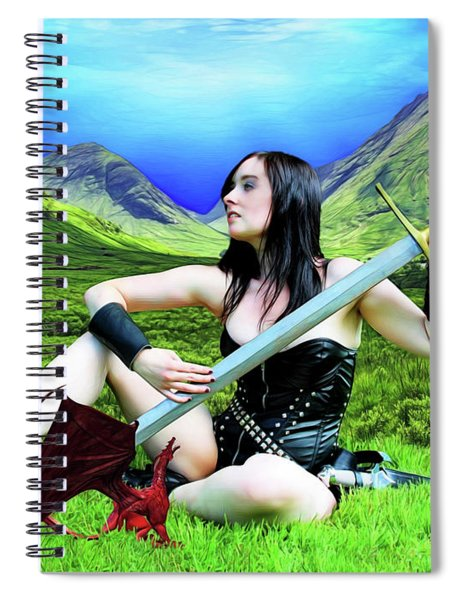 The Warrior And The Pseudo Dragon Spiral Notebook